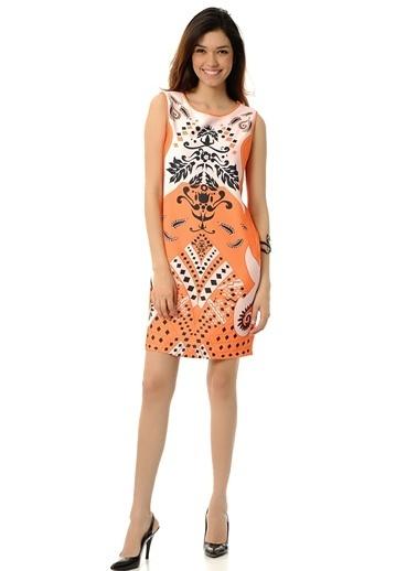 Cotton Bar Kolsuz Desenli Kısa Elbise Oranj